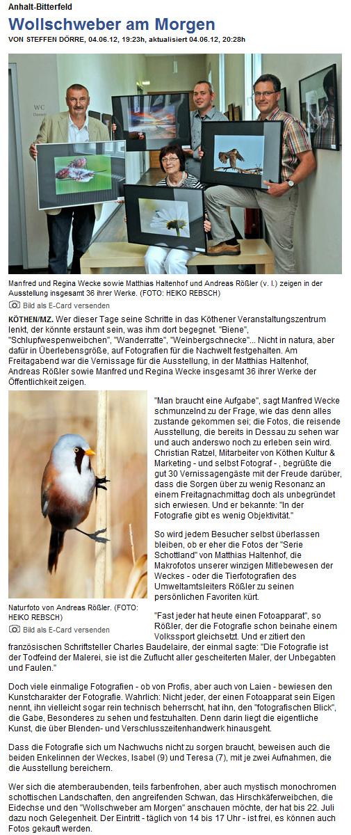 Zeitungsartikel der Mitteldeutschen Zeitung
