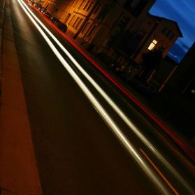 Langzeitlichtung zur blauen Stunde in Köthen.