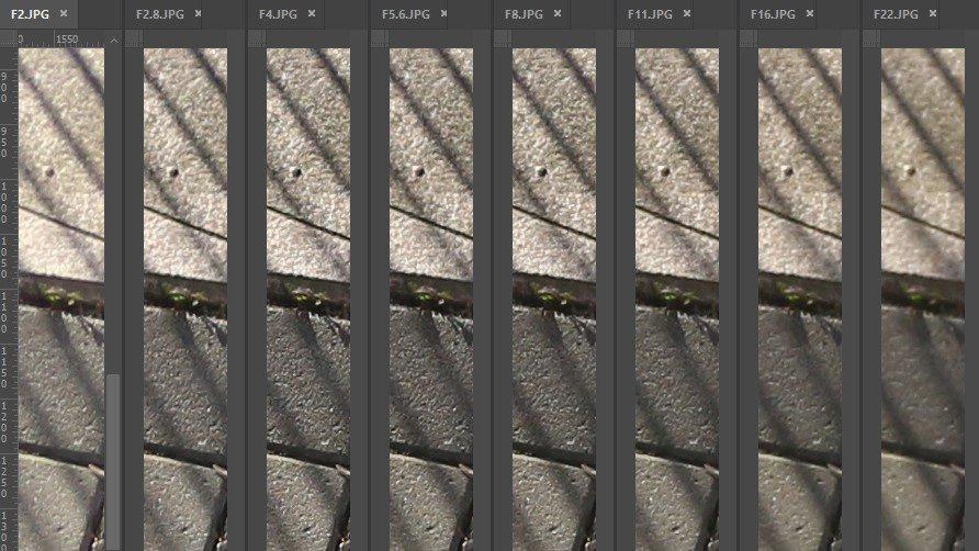 Beugungsunschärfe anhand einer Blendenreihe