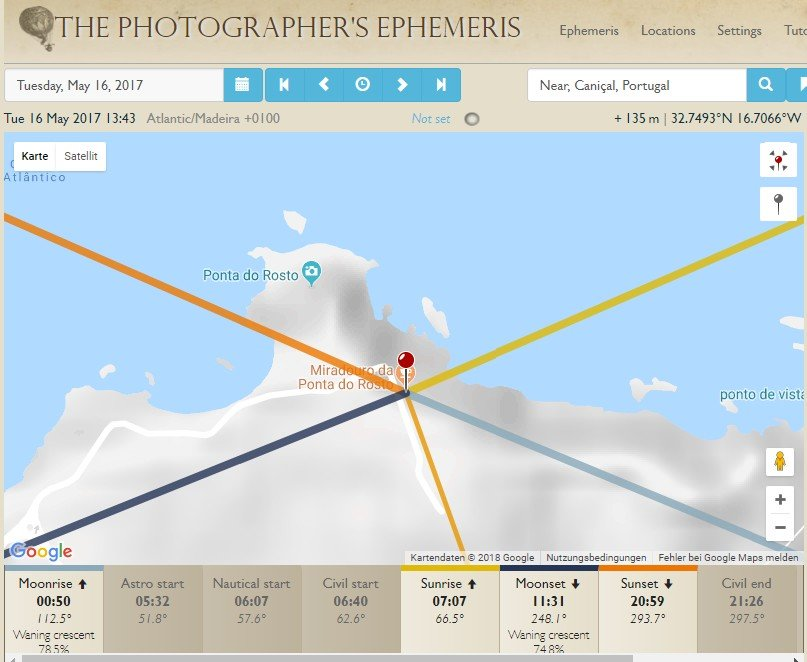 Vorbereitung in The Photographer's Ephemeris