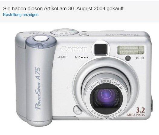 Canon Powershot A75 mit Kaufdatum