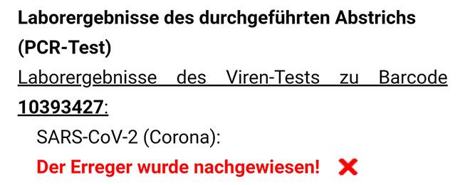 Corona - PCR-Test positiv