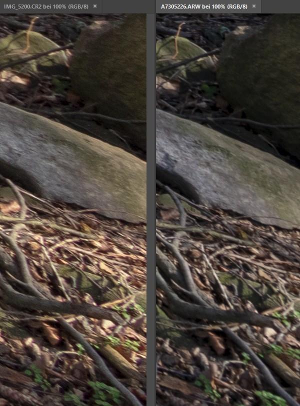 Crop/Vollformat Vergleich bei 10/16 mm - Ecke 1