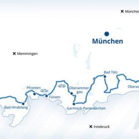 Karte der deutschen Alpenstraße - Danke an den Bayerische Fernwege e.V. für die Nutzungsmöglichkeit - © Deutsche Alpenstraße