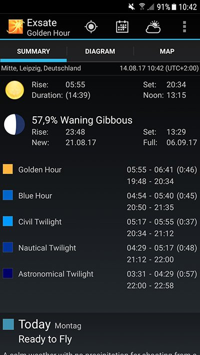 Exsate Golden Hour App