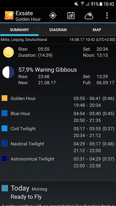 Exsate Golden Hour App