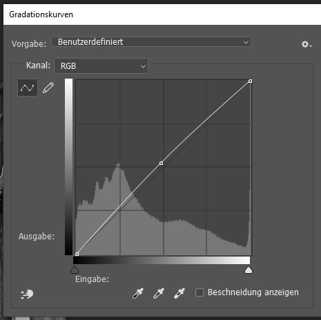 Gradationskurve in Adobe Photoshop zum Aufhellen der Bilder
