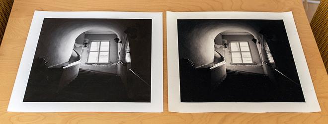 Hahnemühle Papiere: links FineArt Pearl, rechts William Turner Büttenpapier