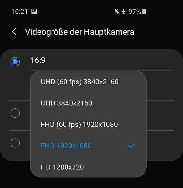 Einstellung der Videoauflösung und Bildrate
