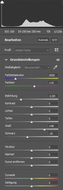 Einstellungen für die Nachbearbeitung in Adobe Camera RAW