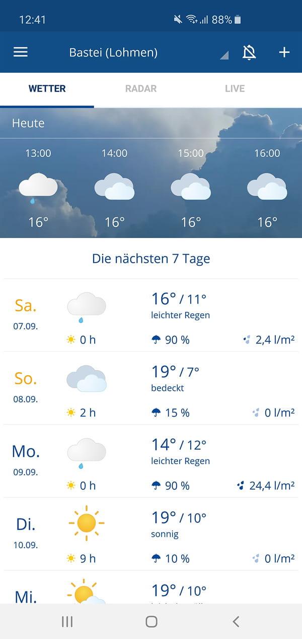 Wettervorhersage für die Bastei