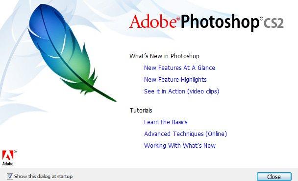Photoshop CS2 Startbildschirm