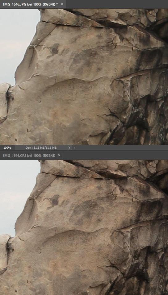 Raw vs JPEG: Schärfe - oben JPEG, unten RAW