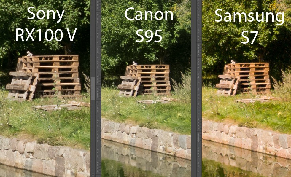 Sony RX100 V vs Canon Powershot S95 vs Samsung Galaxy S7 Center 1