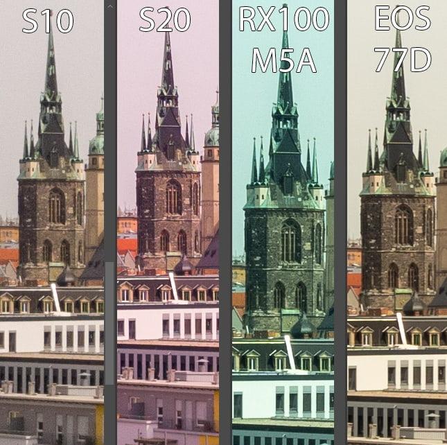 Vergleich der Kameras - Bildmitte