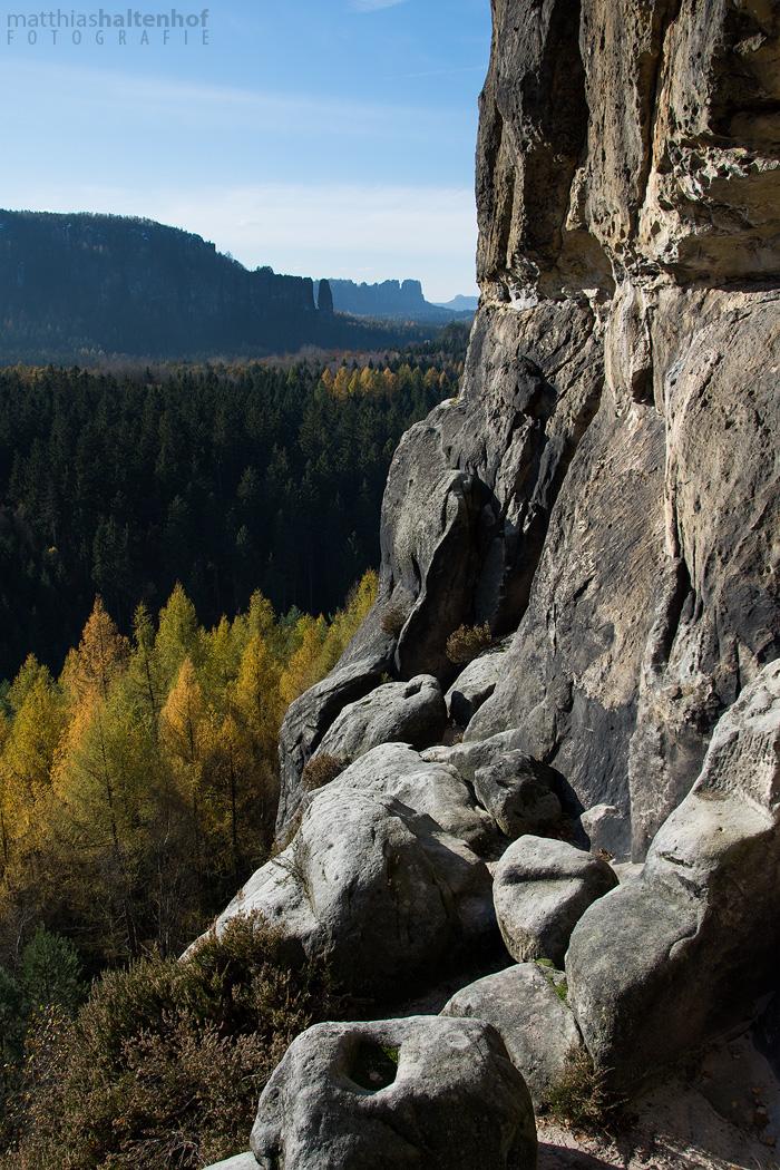 Blick in die hintere Sächsische Schweiz am Schneiderloch