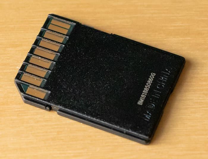 SD-Speicherkarte Rückseite