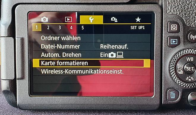 Speicherkarte für Kamera formatieren