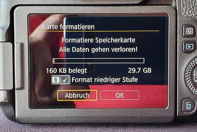 Speicherkarte für Kamera formatieren - Format auf niedriger Stufe
