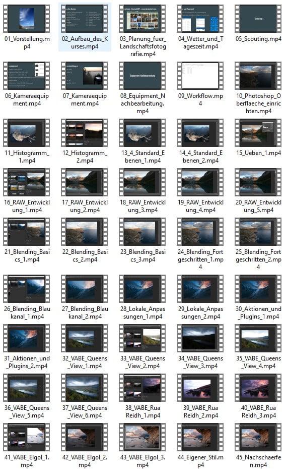 Videokurs Bildbearbeitung für Landschaftsfotografie mit Adobe Photoshop V2 - Lektionen