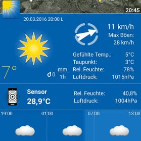 Wetter Apps Test: WeatherPro Ortsansicht