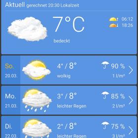 Wetter Apps Test: wetter.com Ortsansicht
