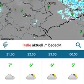 Wetter Apps Test: wetteronline Ortsansicht
