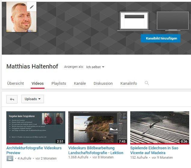 Mein YouTube Kanal könnte auch besser gepflegt sein