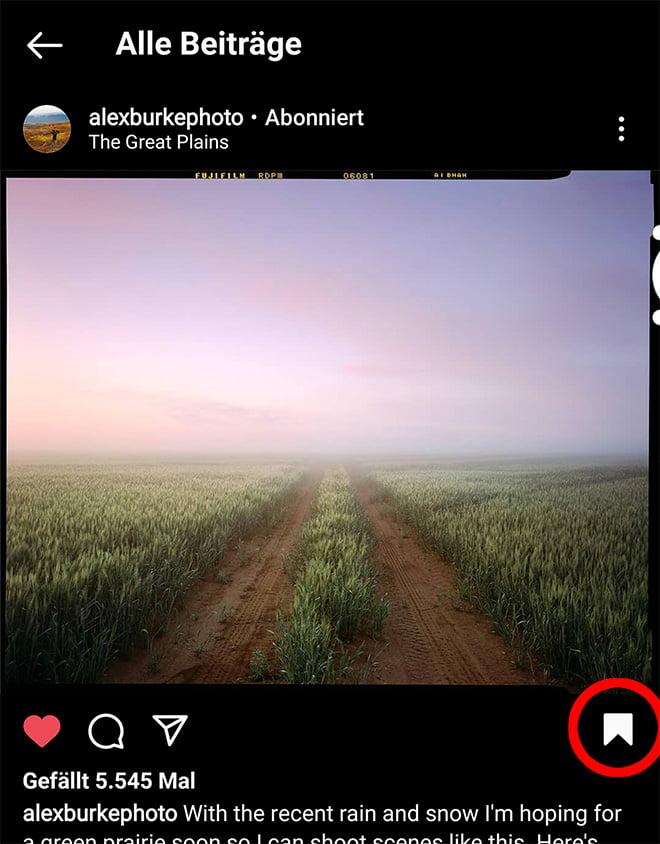 Die Speicherfunktion in Instagram